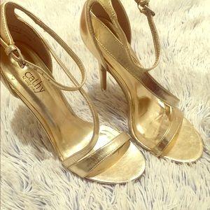 Cathy Jean gold heel sandal